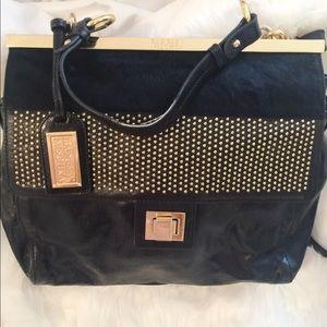 Badgley Mishka  100% leather bag black w gold